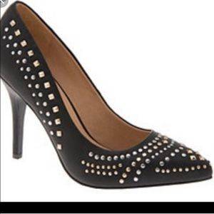 Gold  and Silver studded Black Wide width Heel 10w